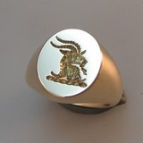 Goats head crest engraved signet ring